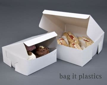 CAKE BOXES WHITE FOLD FLAT CARDBOARD / CUPCAKE BOX / BAKING VARIOUS SIZES